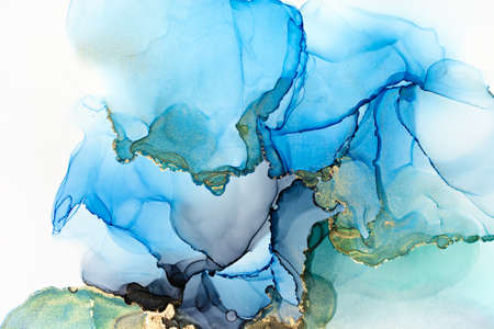 Closeup of blue, grey and shiny golden alcohol ink abstract texture, trendy wallpaper. Art for design project as background for invitation or greeting cards, flyer, poster, presentation, wrapping paper