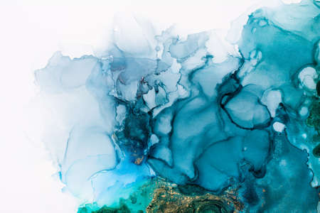 Closeup of blue and turquoise alcohol ink abstract texture, trendy wallpaper. Art for design project as background for invitation or greeting cards, poster, presentation, wrapping paper 版權商用圖片