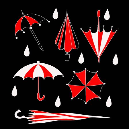 cute cartoon umbrella set. Vector art Illustration