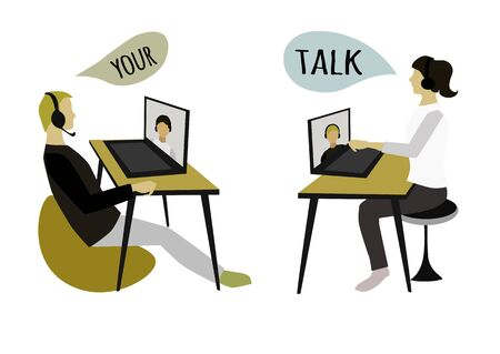 People sit and listen to information, study, communicate. Flat vector style.