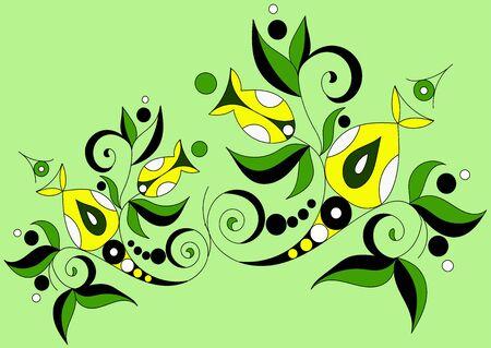 green flower cartoon ornament in vintage style