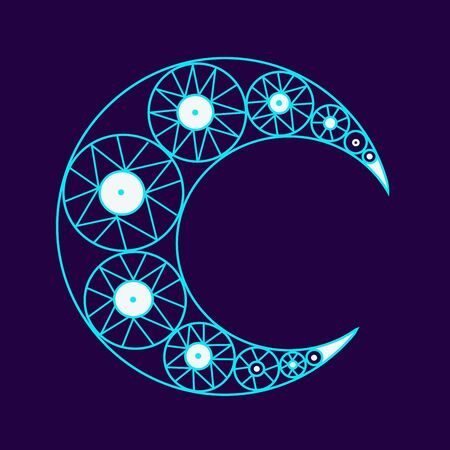 moon crescent in blue color on a purple background. Boho and tattoo desiggn