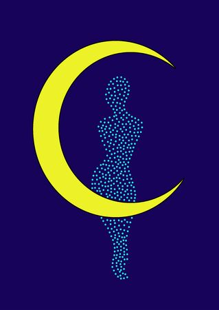 Beautiful woman silhouette on a crescent moon Ilustrace