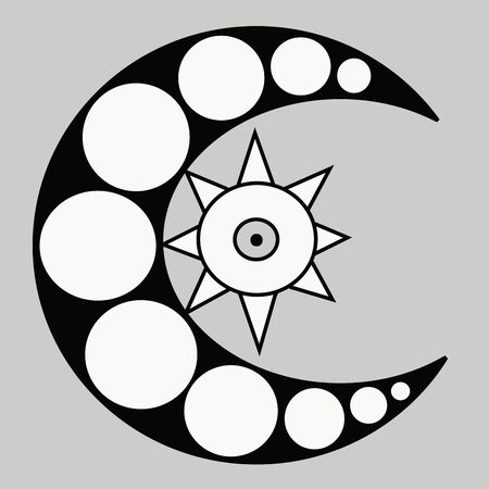black and white crescent moon vector image