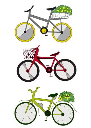 three colored bikes cartoon vector art isolated on white