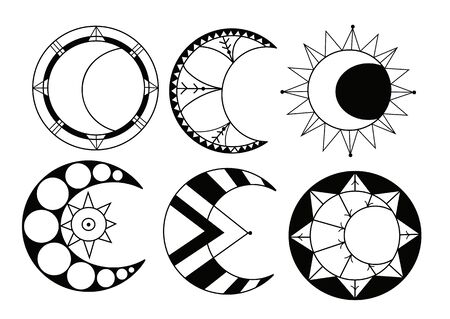 six cartoon crescents, moon and sun, vector set. Black and white colors
