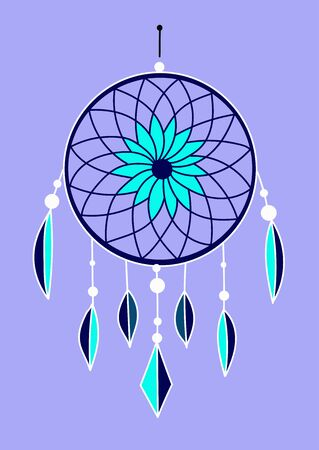 a blue dreamcatcher with turquoice feathers on a blue background