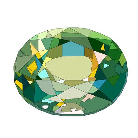 blue diamond gem stone isolated on white background. Realistic vector illustration.