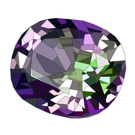 purple diamond or amethyst gem stone isolated on white background. Realistic vector illustration.