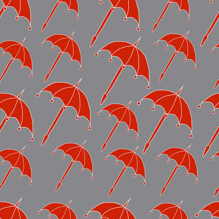 folded cartoon red umbrella and drops seamless pattern on a gray background