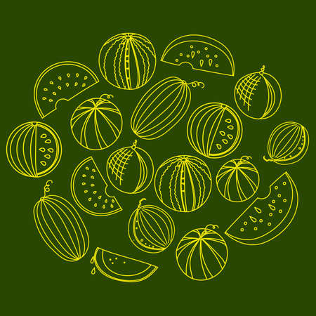 yellow melon and watermelon sketch art isolated on green. Line art