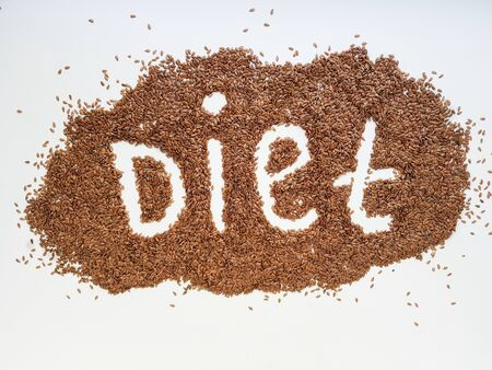 Flax seeds laid out in the form of emotions due to diet on a white background.