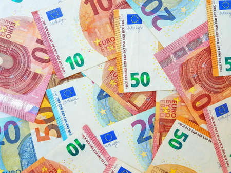 Paper money euro on a white background. View from above. Bribe. Duty. Repayment of the loan. High quality photo
