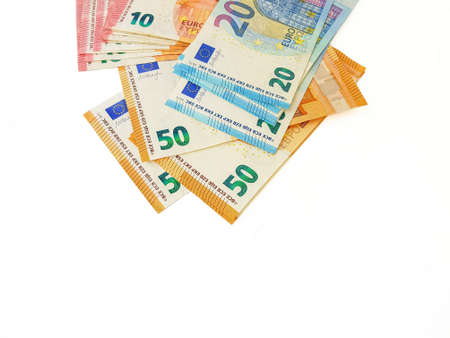 Paper money euro on a white background. View from above. Bribe. Duty. Repayment of the loan. High quality photo Archivio Fotografico - 151064332