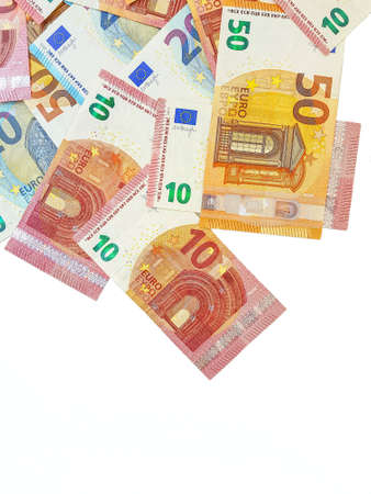 Paper money euro on a white background. View from above. Bribe. Duty. Repayment of the loan. High quality photo Archivio Fotografico - 151070031