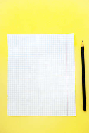 A white sheet of notebook paper in a cage on a bright yellow background with a black slate pencil. . High quality photo Foto de archivo