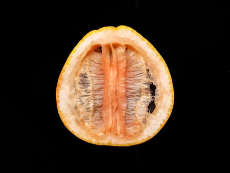 Dried grapefruit without pulp on a black background. High quality photo Фото со стока
