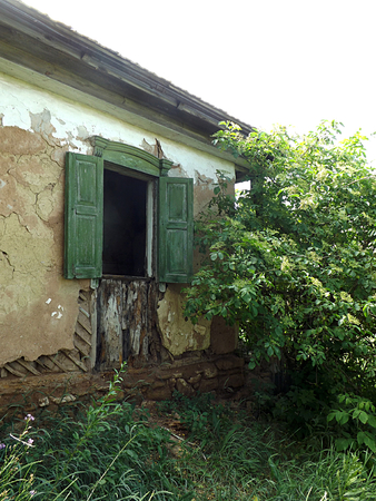 Destroying house in a village, an offensive of nature.