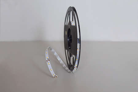 Close-up of LED strip on a reel