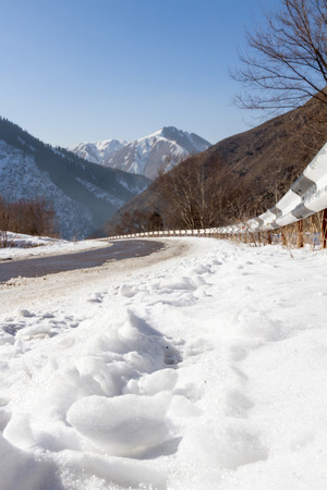 no pase: mountain road in winter in the gorge Trans-Ili Alatau
