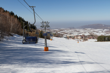chairlift: chairlift at a ski resort in the mountains of Trans-Ili Alatau