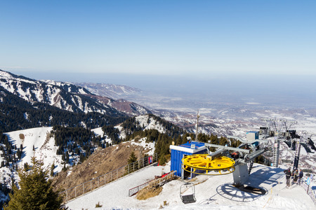 chairlift at a ski resort near Almaty in Kazakhstan Stock Photo