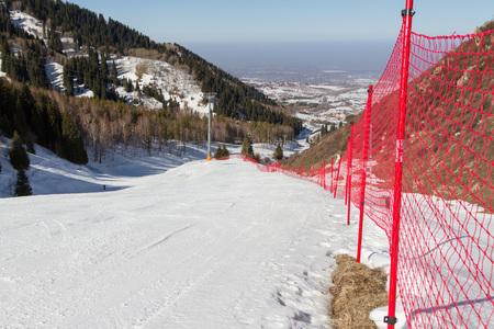 crosscountry: snowy ski trails in the mountains of Trans-Ili Alatau Stock Photo