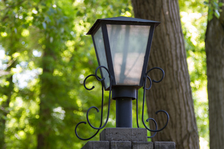 architectural lighting design: Decorative street lamp on a background of green vegetation Stock Photo