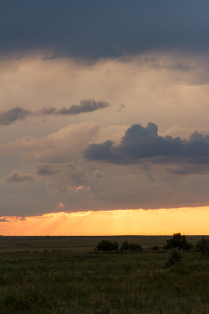 desert storm: sunset in the desert after the storm