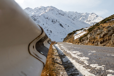 striker: road striker in the mountains to the top Stock Photo