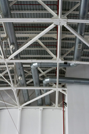 aeration: the ventilation system of pipes under the ceiling Stock Photo