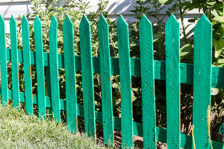 Green decorative fence from slats on the site