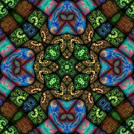 Kaleidoscopic wallpaper tiles Stock Photo