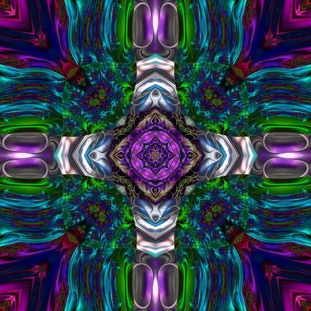 kaleidoscopic: Kaleidoscopic ornament and background art wallpaper tiles Stock Photo