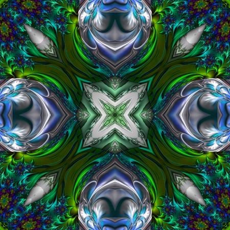 Kaleidoscopic ornament and background art wallpaper tiles Stock Photo
