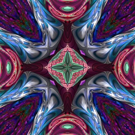 Kaleidoscopic ornament and background art wallpaper tiles Stock Photo