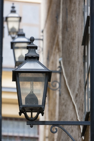 Vintage street lamps on wall