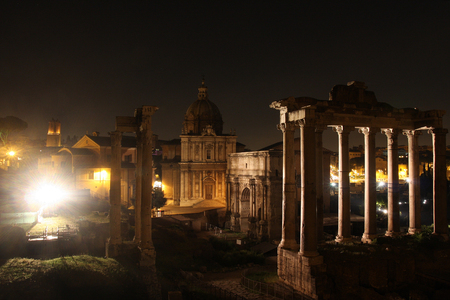 Rome by night. Famous buildings of Rome in one picture.
