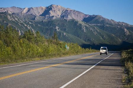 Road of Alaska. Denali Highway in beautiful weather