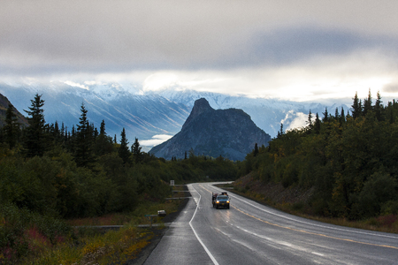 Lions head on the end of the road in Alaska.
