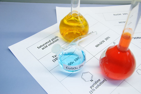 formulae: Three flasks with saturated picric acid solution (yellow), copper (II) sulfate (blue) and pyridine solution (red) prepared for chemical reaction, on a sheet of paper with their chemical formulae