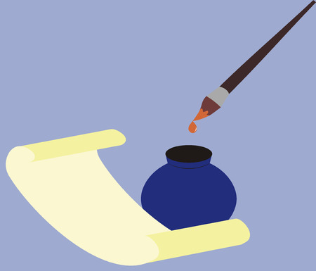 vellum: nappa di inchiostro e carta pergamena su sfondo blu di turno, discesa scorre verso il basso con nappine  Vettoriali