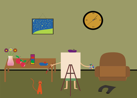flowerses: artist draws picture in its house, cat near by him Illustration