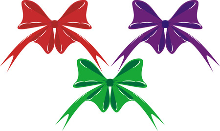 briliance: red,violet and green bowknots on white background,ripping midair Illustration