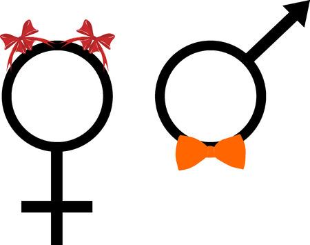 symbols men and women(woman) on white background Иллюстрация