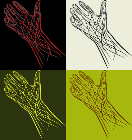 four magic hands residing on varied background