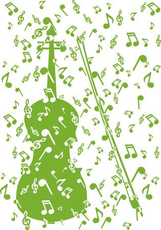 violin in notes Vector