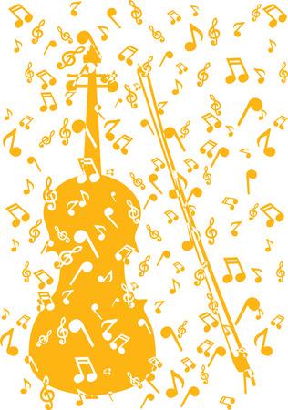 violin in notes Иллюстрация