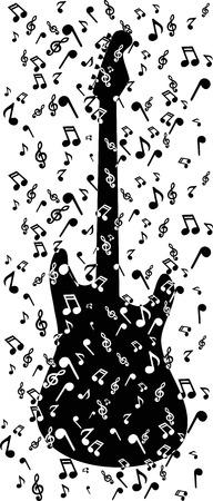 notes in guitar Vector