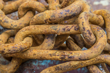 rusty chain: Close up shot of rusty chain Stock Photo